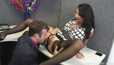 Lezley Zen fucking in the desk with her big tits