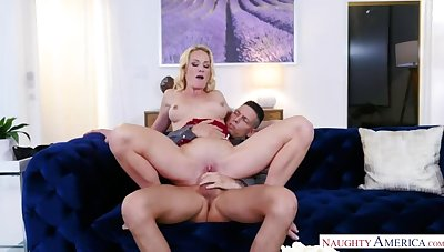 Friend's mom Sydney Hail fucking in the couch near her tits