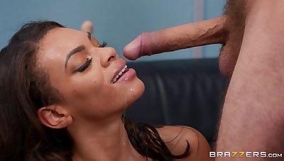 Hot ass pornstar Halle Hayes enjoys riding an older man's prick
