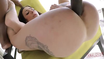 Cool milky brown-haired with giant, steadfast jugs, Harlow Harrison had assfuck fuck-a-thon with a dark-hued boy