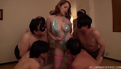 Nude busty Japan non-specific in raw gangbang carry on