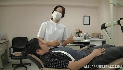 Kinky Asian dentist gives fan and rides the brush lucky patient