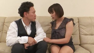 Chubby Japanese MILF drops her panties to be fucked in missionary