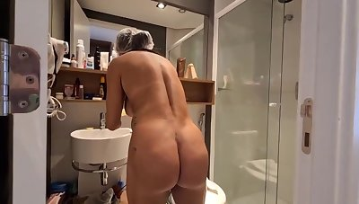 Brazilian dark haired with large, hard hooters, Bianca Naldy is property banged from the back, in the shower