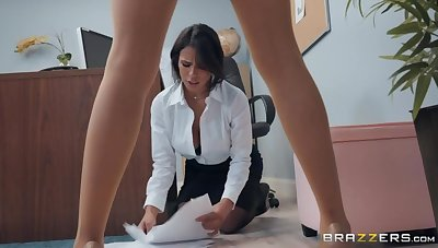 Two busty bisexual babes Darcie Dolce and Autumn Falls fuck each other in be imparted to murder office