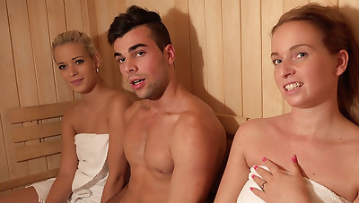 Youthfull duo have anal assault hump four in like manner in sauna