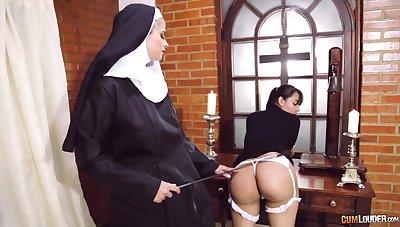 Crazy nun lesbian fetish with two amazing women