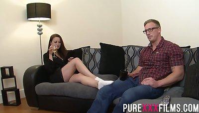 Having seduced nerdy toff Romanian nympho Lara Jade Deene enjoys riding cock