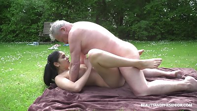 This hot young and old adventure comes to an expunge when he cums on her tits