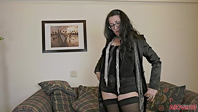 grown-up mammy in stockings & opera-glasses masturbating solo - amateur
