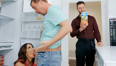 Wife's big tits seduced nanny in the air fuck hardcore