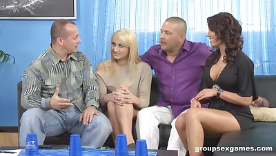 Coral Leyra and her husband invite one married couple for crazy swinger sex