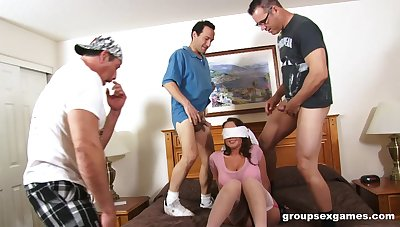 Blindfolded become man Chloe Reese Carter surprised forth a gangbang