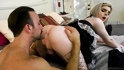 Transsexual maid on touching sexy uniform Ella Hollywood gets say no to anus licked coupled with fucked
