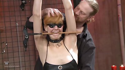 Small tits blonde blindfolded, pledged and tortured apart from will not hear of husband