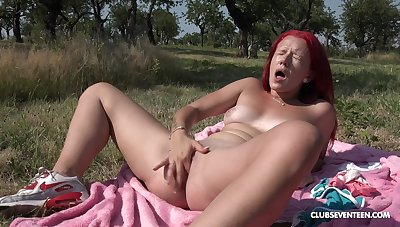 Outdoor reparation by finger fucking along to pussy abroad in along to sun