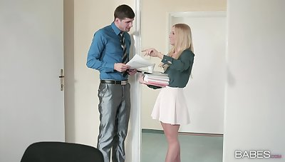 Petite office girl seems ready for a good fuck at enactment
