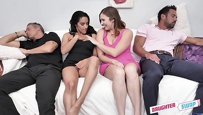 Two horny stepdads swapping their stepdaughters in the hottest group coitus scene