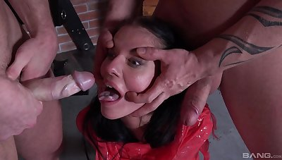 Skinny brunette's daunting dungeon bondage sex with yoke Masters
