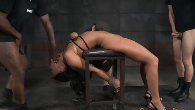 Hot ass brunette London River tied roughly and tortured by 2 guys