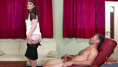 Amateur redhead Zoe Page drops her dress to help him finish