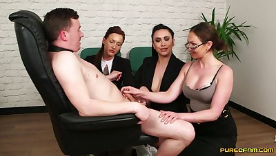 MILFs in hot office outfits, insane CFNM on a immaculate dick