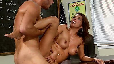 Busty MILF energized during hard sexual relations about one of her students