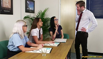 Lovable office babes are having fun with one be required of their colleague