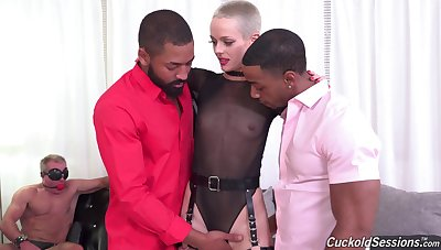 Hawkshaw starved newborn goes black while her cuckold spouse watches helplessly