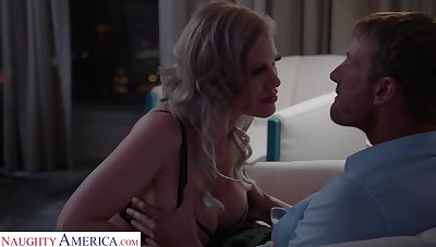 Russian bombshell Casca Akashova gives a boobjob at the crazy pussy hanker