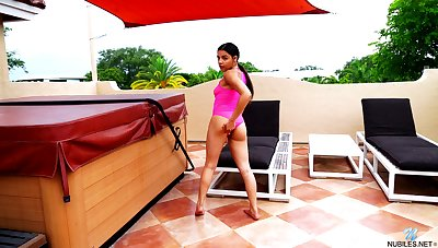 Nice Latin babe Ella Cruz is finger fucking wringing wet flavourful snatch by the pool