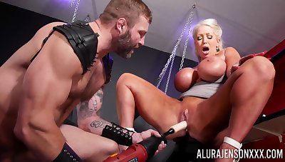 Rough BDSM pussy and anal for a chubby ass cougar above fire