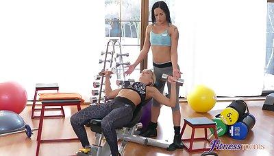 Sporty women love a naughty lesbian break at along to gym