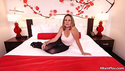 Skinny brunette milf with saggy tits, Judith, is riding a permanent white cock be expeditious for a camera