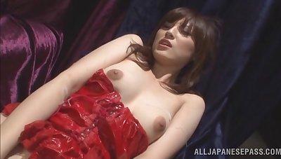 Soft pussy Japanese girl Kanako Iioka gives head while masturbating