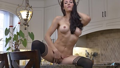 Provocative brunette Olivia Bell takes withdraw burnish apply brush clothes in burnish apply kitchen