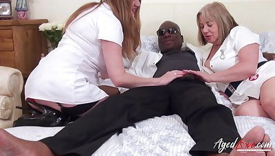 Interracial hardcore sex with one black to hand stud and two piping hot leader mature ladies