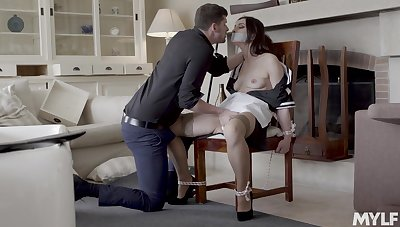 Pare girl Valentina Bianco gives a blowjob with the addition of gets fucked