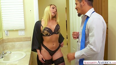 Sexy blonde babe in black tights kisses toff in advance beefy nice head