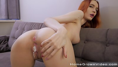 Fit redhead room-mate loves teasing and having quickie sex